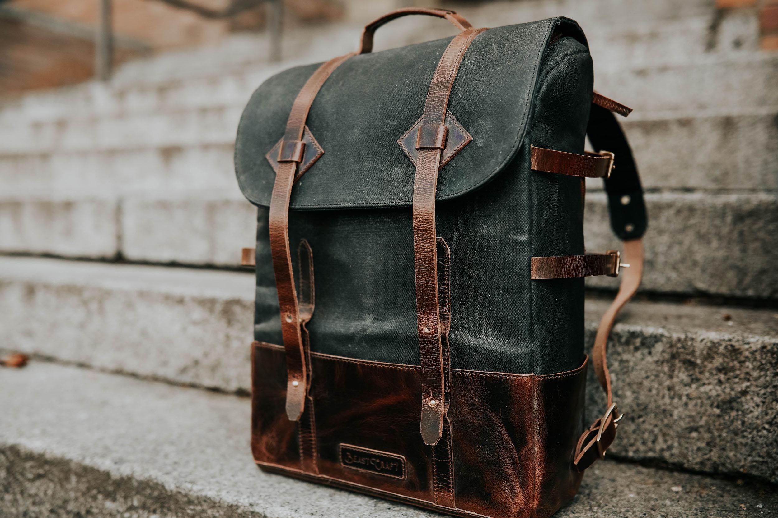 backpack on steps